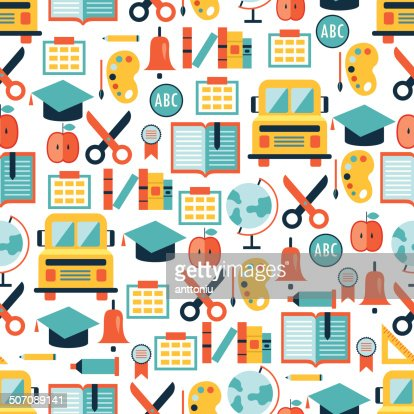 back to school seamless background pattern vector art