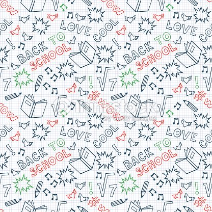Back To School Seamless Pattern Cute Notebook Background Vector Art
