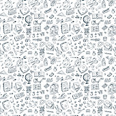 Back to school. Seamless pattern of school supplies. Hand Drawn Doodle illustration