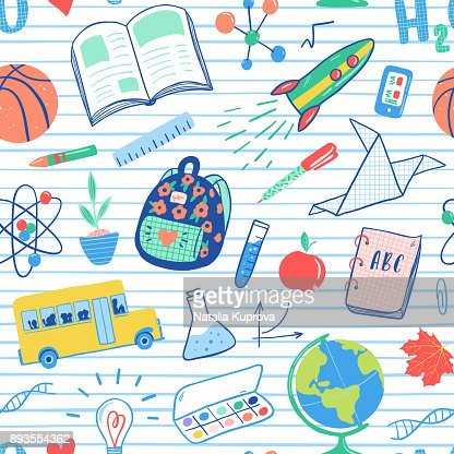 Back to school seamless pattern. Vector school bus, rocket, globe, backpack, ball, book, chemistry, test tubes, paint, plant, telephone. School doodles icons illustration. : Vector Art