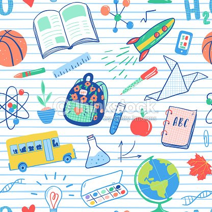 Back to school seamless pattern. Vector school bus, rocket, globe, backpack, ball, book, chemistry, test tubes, paint, plant, telephone. School doodles icons illustration. : stock vector