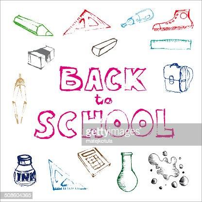 Volver a la escuela-Conjunto de escuela garabatos e ilustraciones : Arte vectorial