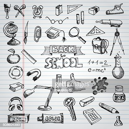 Back to School Supplies Sketchy Notebook Doodles with Lettering : Vector Art