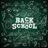 Back to School Text School Stationary Doodles on Blackboard