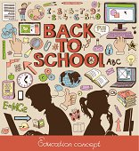 Back to school - doodle set, education concept, silhouettes of students.