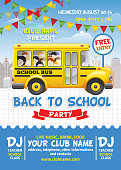 Back to school party poster template. Cute design with yellow school bus on list sheet.Vector illustration.