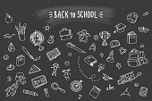 Concept of education. School background with hand drawn school supplies on blackboard. Back to school.