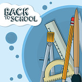 Back to school supplies cartoons vector illustration graphic design