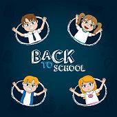 Back to school students kids cartoons vector illustration graphic design