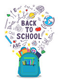 Back to school. Open school backpack full of stationery with school doodle on white background. Vector illustration.