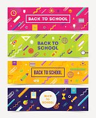 Back to School Vector set of horizontal banners - colorful abstract backgrounds with school object and supplies.