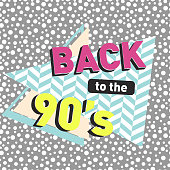 Back to the 90s. Seamless dotted pattern and herringbone pattern. Retro poster. Vector