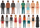 vector illustration of back view people group, man, woman standing characters, business  isolated person