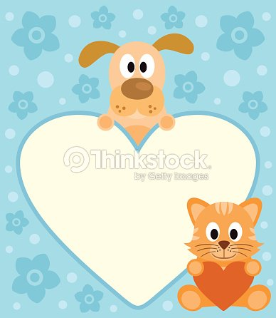 668e4495e07cc Tarjeta De Fondo Con Dibujos Animados De Perro Y Gato arte vectorial ...