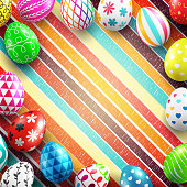 Background for Happy Easter Day with Colorful Painted Easter Eggs and space for your text.Vector illustration EPS10