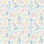 Background for little boys and girls in sketch style. Doodle children drawing background. Hand drawn children drawings color seamless pattern. Vector illustration