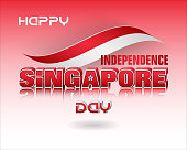 Holiday background with 3d texts, crescent moon facing a pentagon of five stars and national flag colors for ninth of August, Singapore Independence day, celebration