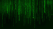 Background in a matrix style. Falling random numbers. Green is dominant color. Vector illustration