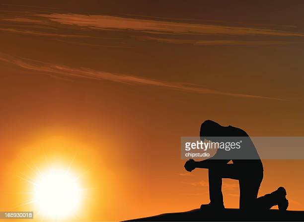 Background of an outlined kneeling man in front of a sunset