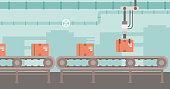 Background of conveyor belt with robot arm and boxes vector flat design illustration. Horizontal layout.