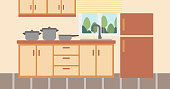 Background of kitchen with kitchenware vector flat design illustration. Horizontal layout.