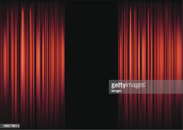Background of red theater curtains framing black