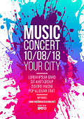 Background of trend colored spots. Sketch with sample text for music or artistic event. Vector background