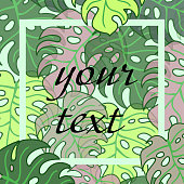 background of tropical leaf with frame for text.