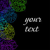 background of tropical leaves with frame for text on black background