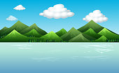Background scene with mountains and lake illustration