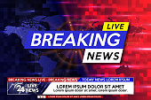 Background screen saver on breaking news. Breaking news live on world map on the blue and red background. Vector illustration.
