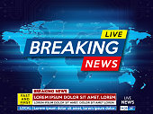 Background screen saver on breaking news. Breaking news live on blue technology background and world map. Vector illustration.