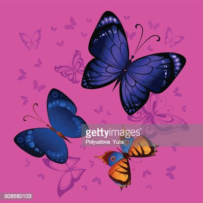 Background seamless of colorful butterflies flying : Vector Art