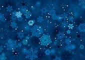 Vector illustration of abstract snow background winter night design in blue and white with lots of snowflakes, stars and blurred circles falling on the entire image.Clipping path and transparency on t