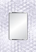 glossy glass background with metallic plaque
