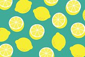 Background with a pattern of yellow lemons eps 10