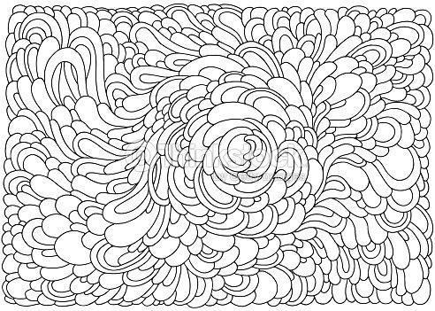Coloriage Adulte Fond Noir.Fond Avec Vagues Abstraites Noir Et Blanc Doodle Illustration
