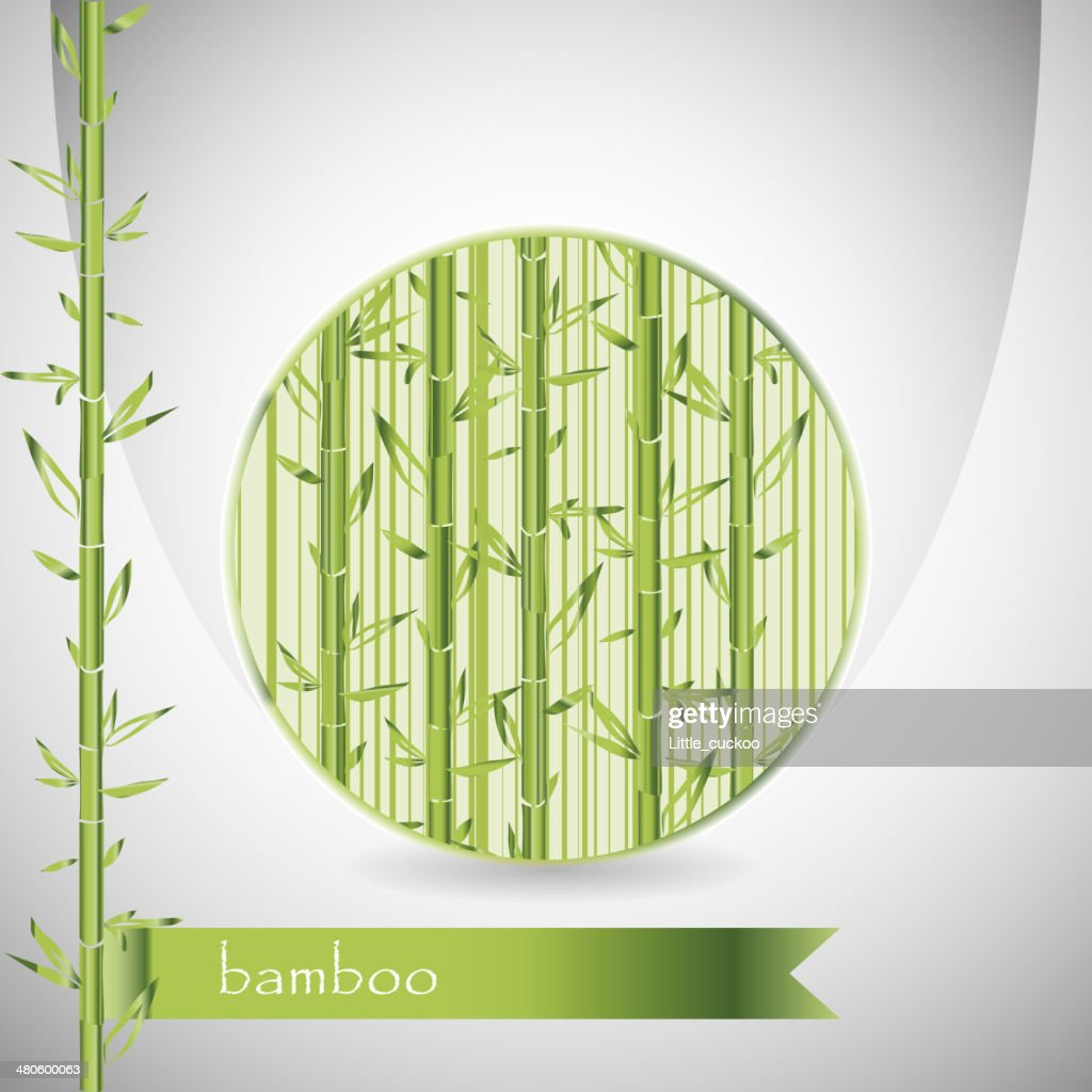 background with bamboo in circle and green ribbon : Vector Art