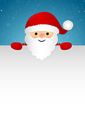 Background with happy Santa Claus holding a card. Vector.