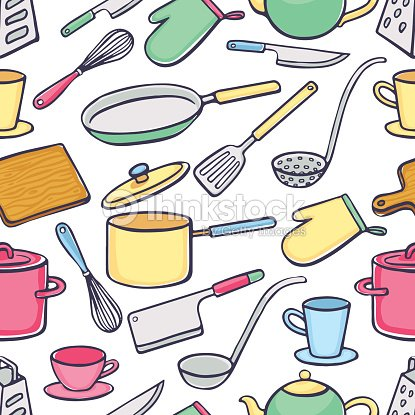 Background with kitchen utensils vector art thinkstock for Utensilios de chef