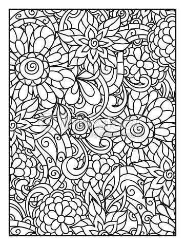 Fondo Con Líneas De Flores Para Adultos Para Colorear Página ...