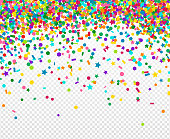 Abstract background with many falling tiny confetti pieces. Vector Illustration. Party background, greeting card. Rainbow small sequins salute.