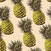 Seamless background with hand drawn pineapples