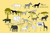 Savanna animals. Hand drawn vector trees, lion, cheetah, zebra and safari park. Vector Illustration