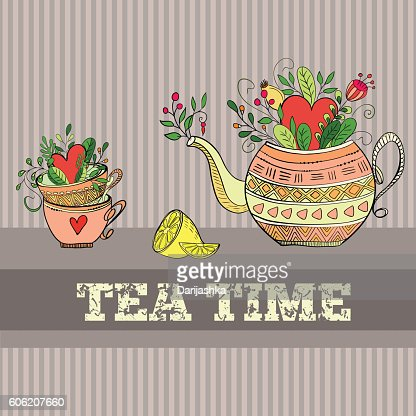 Background with teapot : Vector Art
