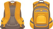 Backpack front and rear view on a white background