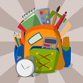 Backpack full of school supplies student pencil book baggage notebook stationary equipment education object vector illustration. Schoolbag handle luggage back to school symbol.