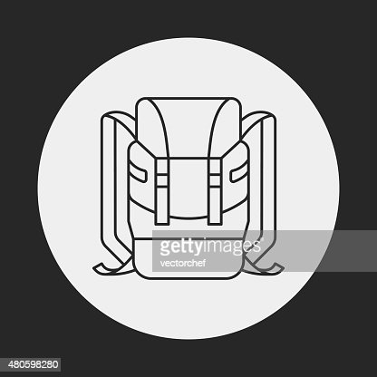backpack line icon : Vector Art