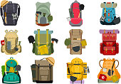 Backpack rucksack travel tourist knapsack in flat style hiking traveler backpacker baggage luggage vector illustration. Outdoor journey equipment backpacking.