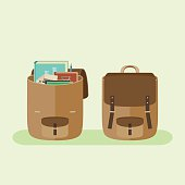 Simple vector flat icon of open and closed school backpacks.